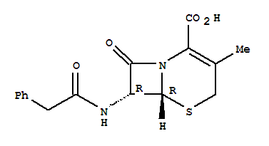 Molecular Structure of 27255-72-7 (5-Thia-1-azabicyclo[4.2.0]oct-2-ene-2-carboxylicacid, 3-methyl-8-oxo-7-[(2-phenylacetyl)amino]-, (6R,7R)-)