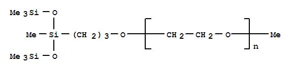 Molecular Structure of 27306-78-1 (Poly(oxy-1,2-ethanediyl),a-methyl-w-[3-[1,3,3,3-tetramethyl-1-[(trimethylsilyl)oxy]-1-disiloxanyl]propoxy]-)
