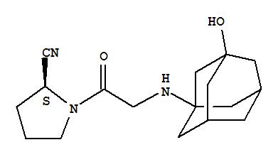 Molecular Structure of 274901-16-5 (2-Pyrrolidinecarbonitrile,1-[2-[(3-hydroxytricyclo[3.3.1.13,7]dec-1-yl)amino]acetyl]-, (2S)-)