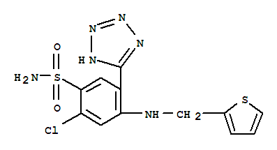 Molecular Structure of 27589-33-9 (Benzenesulfonamide,2-chloro-5-(2H-tetrazol-5-yl)-4-[(2-thienylmethyl)amino]-)