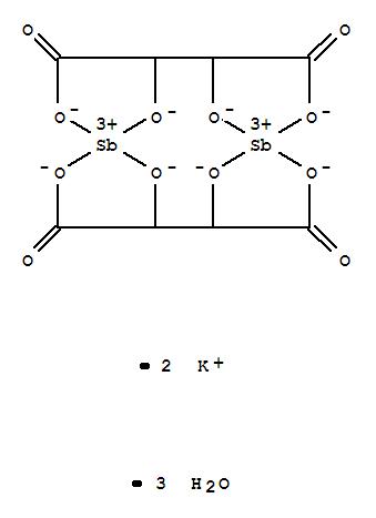 Molecular Structure of 28300-74-5 (Antimonate(2-), bis[m-[2,3-di(hydroxy-kO)butanedioato(4-)-kO1:kO4]]di-, potassium, hydrate (1:2:3), stereoisomer)