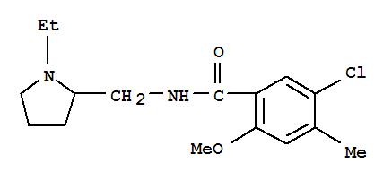 28478-50-4,Benzamide,5-chloro-N-[(1-ethyl-2-pyrrolidinyl)methyl]-2-methoxy-4-methyl-,o-Anisamide,5-chloro-N-[(1-ethyl-2-pyrrolidinyl)methyl]-4-methyl- (8CI)