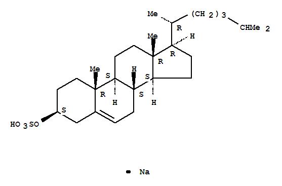 2864-50-8,Cholest-5-en-3-ol (3b)-, 3-(hydrogen sulfate), sodiumsalt (1:1),Cholest-5-en-3-ol(3b)-, hydrogen sulfate, sodium salt(9CI);Cholesterol, hydrogen sulfate, sodium salt (8CI);Cholesteryl sodiumsulfate (6CI);Cholesterol 3-sulfate sodium salt;Cholesteryl sulfate sodiumsalt;Sodium cholesteryl sulfate;