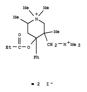 28866-33-3,3-Piperidinemethanaminium,N,N,N,1,1,3,6-heptamethyl-4-(1-oxopropoxy)-4-phenyl-, iodide (1:2),Piperidinium,4-hydroxy-1,1,2,5-tetramethyl-4-phenyl-5-[(trimethylammonio)methyl]-, diiodide,propionate (8CI)
