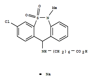 Molecular Structure of 30123-17-2 (Heptanoic acid,7-[(3-chloro-6,11-dihydro-6-methyl-5,5-dioxidodibenzo[c,f][1,2]thiazepin-11-yl)amino]-,sodium salt (1:1))