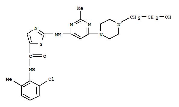Molecular Structure of 302962-49-8 (5-Thiazolecarboxamide,N-(2-chloro-6-methylphenyl)-2-[[6-[4-(2-hydroxyethyl)-1-piperazinyl]-2-methyl-4-pyrimidinyl]amino]-)