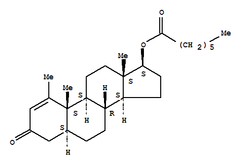Molecular Structure of 303-42-4 (Androst-1-en-3-one,1-methyl-17-[(1-oxoheptyl)oxy]-, (5a,17b)-)