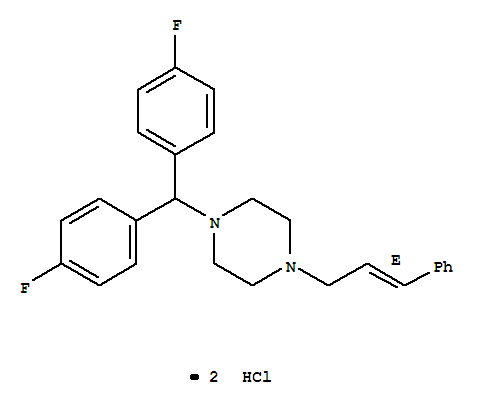 Molecular Structure of 30484-77-6 (Piperazine,1-[bis(4-fluorophenyl)methyl]-4-[(2E)-3-phenyl-2-propen-1-yl]-, hydrochloride(1:2))