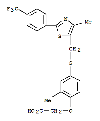 Molecular Structure of 317318-70-0 (Aceticacid, [2-methyl-4-[[[4-methyl-2-[4-(trifluoromethyl)phenyl]-5-thiazolyl]methyl]thio]phenoxy]-(9CI))