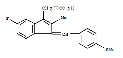 Molecular Structure of 32004-67-4 (1H-Indene-3-aceticacid, 5-fluoro-2-methyl-1-[[4-(methylthio)phenyl]methylene]-)