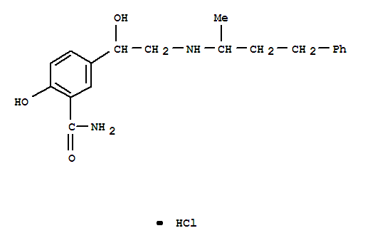 Molecular Structure of 32780-64-6 (Benzamide,2-hydroxy-5-[1-hydroxy-2-[(1-methyl-3-phenylpropyl)amino]ethyl]-, hydrochloride(1:1))