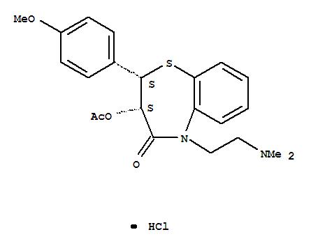Molecular Structure of 33286-22-5 (1,5-Benzothiazepin-4(5H)-one,3-(acetyloxy)-5-[2-(dimethylamino)ethyl]-2,3-dihydro-2-(4-methoxyphenyl)-,hydrochloride (1:1), (2S,3S)-)