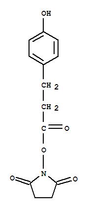 34071-95-9,Benzenepropanoic acid,4-hydroxy-, 2,5-dioxo-1-pyrrolidinyl ester,2,5-Pyrrolidinedione,1-[3-(4-hydroxyphenyl)-1-oxopropoxy]- (9CI);Succinimide, N-[(p-hydroxyhydrocinnamoyl)oxy]-(8CI);3-(4-Hydroxyphenyl)propionic acid N-hydroxysuccinimide ester;N-Succinimidyl 3-(4-hydroxyphenyl)propionate;NSC 240876;