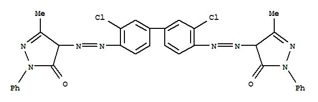 CAS NO:3520-72-7 3H-Pyrazol-3-one,4,4'-[(3,3'-dichloro[1,1'-biphenyl]-4,4'-diyl)bis(2,1-diazenediyl)]bis[2,4-dihydro-5-methyl-2-phenyl- Molecular Structure
