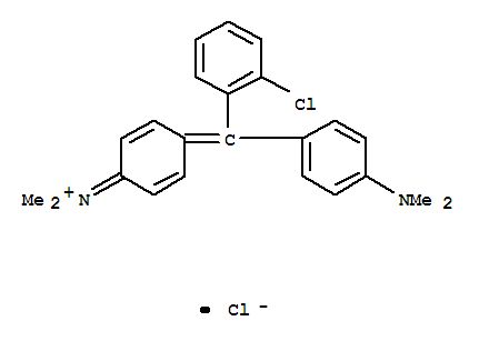 CAS NO:3521-06-0 Methanaminium,N-[4-[(2-chlorophenyl)[4-(dimethylamino)phenyl]methylene]-2,5-cyclohexadien-1-ylidene]-N-methyl-,chloride (1:1) Molecular Structure
