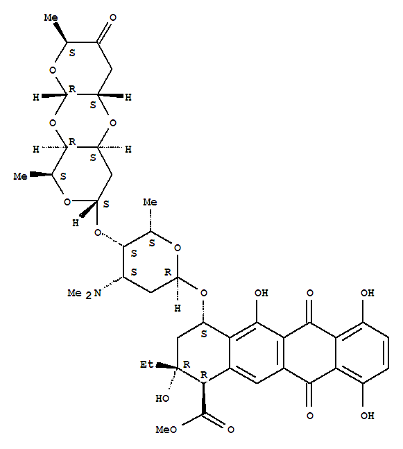 Molecular Structure of 35906-51-5 (1-Naphthacenecarboxylicacid, 4-[[[2''',3''-anhydro]-O-3,6-dideoxy-a-L-erythro-hexopyranos-4-ulos-1-yl-(1®4)-O-2,6-dideoxy-a-L-lyxo-hexopyranosyl-(1®4)-2,3,6-trideoxy-3-(dimethylamino)-a-L-lyxo-hexopyranosyl]oxy]-2-ethyl-1,2,3,4,6,11-hexahydro-2,5,7,10-tetrahydroxy-6,11-dioxo-,methyl ester, (1R,2R,4S)-)
