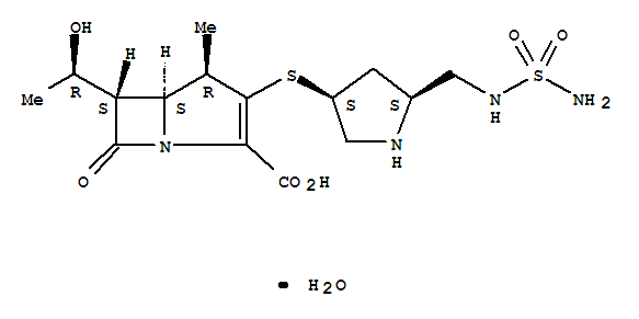 364622-82-2,Doripenem hydrate,1-Azabicyclo[3.2.0]hept-2-ene-2-carboxylicacid,3-[[(3S,5S)-5-[[(aminosulfonyl)amino]methyl]-3-pyrrolidinyl]thio]-6-[(1R)-1-hydroxyethyl]-4-methyl-7-oxo-,monohydrate, (4R,5S,6S)- (9CI);1-Azabicyclo[3.2.0]hept-2-ene-2-carboxylicacid,3-[[(3S,5S)-5-[[(aminosulfonyl)amino]methyl]-3-pyrrolidinyl]thio]-6-[(1R)-1-hydroxyethyl]-4-methyl-7-oxo-,hydrate (1:1), (4R,5S,6S)-;