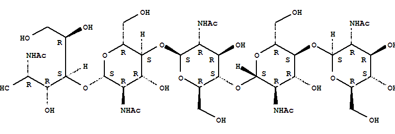 36467-68-2,D-Glucose,O-2-(acetylamino)-2-deoxy-b-D-glucopyranosyl-(1®4)-O-2-(acetylamino)-2-deoxy-b-D-glucopyranosyl-(1®4)-O-2-(acetylamino)-2-deoxy-b-D-glucopyranosyl-(1®4)-O-2-(acetylamino)-2-deoxy-b-D-glucopyranosyl-(1®4)-2-(acetylamino)-2-deoxy-,Chitopentaose,penta-N-acetyl- (6CI); Chitopentaose, N,N',N'',N''',N''''-pentaacetyl-;N-Acetylchitopentaose; Penta-N-acetylchitopentaose