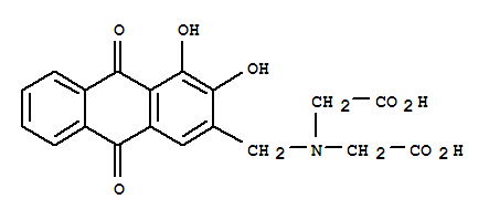 Molecular Structure of 3952-78-1 (Glycine,N-(carboxymethyl)-N-[(9,10-dihydro-3,4-dihydroxy-9,10-dioxo-2-anthracenyl)methyl]-)