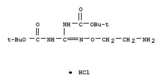 Molecular Structure of 409081-80-7 (Carbamic acid,N-[[(2-aminoethoxy)amino][[(1,1-dimethylethoxy)carbonyl]amino]methylene]-,1,1-dimethylethyl ester, hydrochloride (1:1))