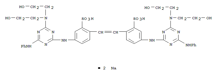 Molecular Structure of 4193-55-9 (Benzenesulfonic acid,2,2'-(1,2-ethenediyl)bis[5-[[4-[bis(2-hydroxyethyl)amino]-6-(phenylamino)-1,3,5-triazin-2-yl]amino]-,sodium salt (1:2))