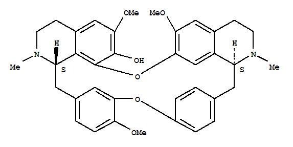 436-77-1,16H-1,24:6,9-Dietheno-11,15-metheno-2H-pyrido[2',3':17,18][1,11]dioxacycloeicosino[2,3,4-ij]isoquinolin-22-ol,3,4,4a,5,16a,17,18,19-octahydro-12,21,26-trimethoxy-4,17-dimethyl-, (4aS,16aS)-,Berbaman-7-ol,6,6',12-trimethoxy-2,2'-dimethyl-, (1b)-;Fangchinoline (6CI,7CI,8CI);(+)-Fangchinoline;(+)-Limacine;16H-1,24:6,9-Dietheno-11,15-metheno-2H-pyrido[2',3':17,18][1,11]dioxacycloeicosino[2,3,4-ij]isoquinolin-22-ol,3,4,4a,5,16a,17,18,19-octahydro-12,21,26-trimethoxy-4,17-dimethyl-,[4aS-(4aR*,16aR*)]-;7-O-Demethyltetrandrine;Frangchinoline;NSC 77036;Fangchinoline;(1-beta)-2,2'-Dimethyl-6,6',12-trimethoxyberbaman-7-ol;