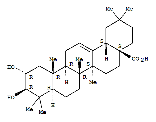Molecular Structure of 4373-41-5 (Olean-12-en-28-oicacid, 2,3-dihydroxy-, (2a,3b)-)