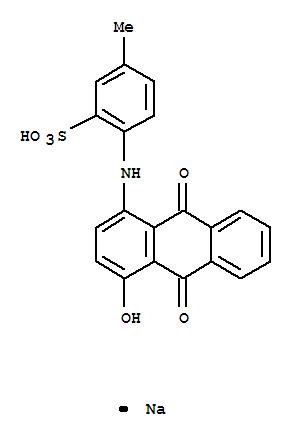 Molecular Structure of 4430-18-6 (Benzenesulfonic acid,2-[(9,10-dihydro-4-hydroxy-9,10-dioxo-1-anthracenyl)amino]-5-methyl-, sodiumsalt (1:1))