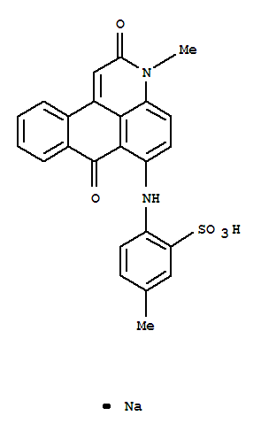 Molecular Structure of 4478-76-6 (Benzenesulfonic acid,2-[(2,7-dihydro-3-methyl-2,7-dioxo-3H-naphtho[1,2,3-de]quinolin-6-yl)amino]-5-methyl-,sodium salt (1:1))