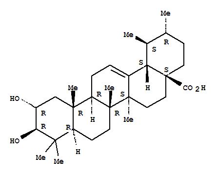4547-24-4,Urs-12-en-28-oic acid,2,3-dihydroxy-, (2a,3b)-,Urs-12-en-28-oicacid, 2a,3b-dihydroxy- (7CI,8CI);2a,3b-Dihydroxyurs-12-en-28-oic acid;2a-Hydroxyursolic acid;Colosic acid;Corsolic acid;Glucosol;