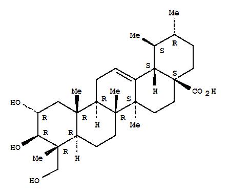 464-92-6,Asiatic acid,Asiaticacid (6CI);Urs-12-en-28-oic acid, 2a,3b,23-trihydroxy- (7CI,8CI);2a,23-Dihydroxyursolic acid;2a,3b,23-Trihydroxyurs-12-en-28-oicacid;NSC 166063;Urs-12-en-28-oic acid,2,3,23-trihydroxy-, (2α,3β,4α)-;(1S,2R,4aS,6aR,6aS,6bR,8aR,9S,10S,11R,12aS,14bR)-10,11-Dihydroxy-9-(hydroxymethyl)-1,2,6a,6b,9,12a-hexamethyl-2,3,4,5,6,6a,7,8,8a,10,11,12,13,14b-tetradecahydro-1H-picene-4a-carboxylic acid;