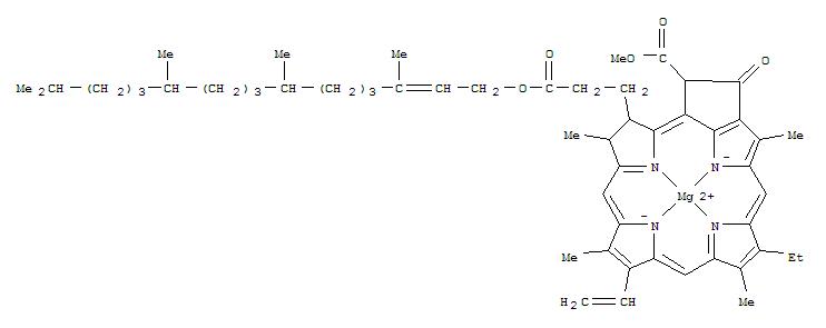 Molecular Structure of 479-61-8 (Magnesium,[(2E,7R,11R)-3,7,11,15-tetramethyl-2-hexadecenyl(3S,4S,21R)-9-ethenyl-14-ethyl-21-(methoxycarbonyl)-4,8,13,18-tetramethyl-20-oxo-3-phorbinepropanoato(2-)-kN23,kN24,kN25,kN26]-, (SP-4-2)-)