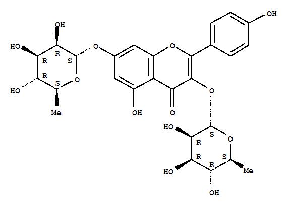 Molecular Structure of 482-38-2 (4H-1-Benzopyran-4-one,3,7-bis[(6-deoxy-a-L-mannopyranosyl)oxy]-5-hydroxy-2-(4-hydroxyphenyl)-)
