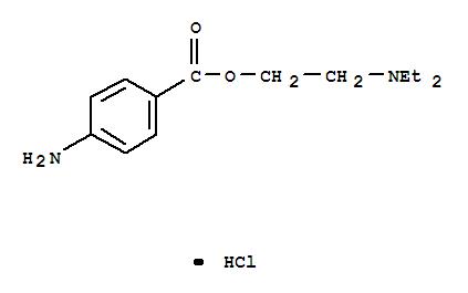 Molecular Structure of 51-05-8 (Benzoic acid, 4-amino-,2-(diethylamino)ethyl ester, hydrochloride (1:1))