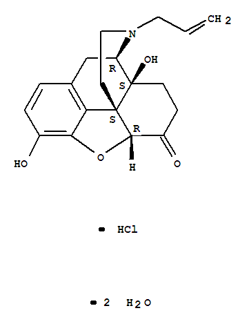 Molecular Structure of 51481-60-8 (Morphinan-6-one,4,5-epoxy-3,14-dihydroxy-17-(2-propenyl)-, hydrochloride, dihydrate, (5a)-)