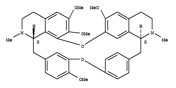 518-34-3,16H-1,24:6,9-Dietheno-11,15-metheno-2H-pyrido[2',3':17,18][1,11]dioxacycloeicosino[2,3,4-ij]isoquinoline,3,4,4a,5,16a,17,18,19-octahydro-12,21,22,26-tetramethoxy-4,17-dimethyl-,(4aS,16aS)-,Berbaman,6,6',7,12-tetramethoxy-2,2'-dimethyl-, (1b)-;Tetrandrine (6CI,7CI,8CI);(+)-Tetrandrine;(S,S)-Tetrandrine;16H-1,24:6,9-Dietheno-11,15-metheno-2H-pyrido[2',3':17,18][1,11]dioxacycloeicosino[2,3,4-ij]isoquinoline,3,4,4a,5,16a,17,18,19-octahydro-12,21,22,26-tetramethoxy-4,17-dimethyl-,[4aS-(4aR*,16aR*)]-;Fanchinine;Hanfangchin A;NSC 77037;S,S-(+)-Tetrandrine;Sinomenine A;TTD;Tetrandrin;Tetrandrine;