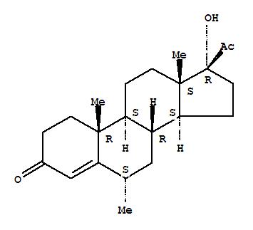 520-85-4,Pregn-4-ene-3,20-dione,17-hydroxy-6-methyl-, (6a)-,Pregn-4-ene-3,20-dione,17-hydroxy-6a-methyl-(7CI,8CI); Progesterone, 17-hydroxy-6a-methyl- (6CI); 17-Hydroxy-6a-methylpregn-4-ene-3,20-dione;17-Hydroxy-6a-methylprogesterone;17a-Hydroxy-6a-methylprogesterone; 6a-Methyl-17-hydroxyprogesterone; 6a-Methyl-17R-hydroxyprogesterone;6a-Methyl-17a-hydroxypregn-4-ene-3,20-dione; 6a-Methyl-17a-hydroxyprogesterone; 6a-Methyl-4-pregnen-17a-ol-3,20-dione;Medoxyprogesterone; Medroxyprogesteron; Medroxyprogesterone; NSC 27408; U 8840