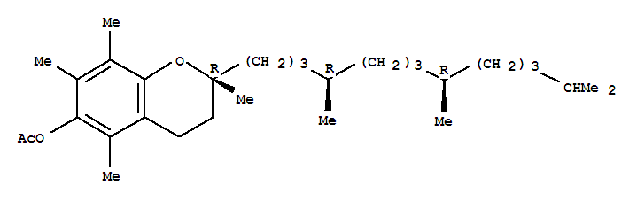 2H-1-Benzopyran-6-ol,3,4-dihydro-2,5,7,8-tetramethyl-2-[(4R,8R)-4,8,12-trimethyltridecyl]-,6-acetate, (2R)-rel-