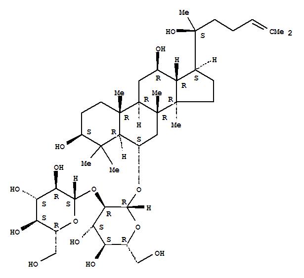 52286-58-5,b-D-Glucopyranoside, (3b,6a,12b)-3,12,20-trihydroxydammar-24-en-6-yl 2-O-b-D-glucopyranosyl-,Dammarane,b-D-glucopyranoside deriv.;Panaxoside Rf;