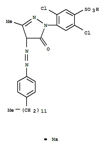 Molecular Structure of 52584-47-1 (Benzenesulfonic acid,2,5-dichloro-4-[4-[2-(4-dodecylphenyl)diazenyl]-4,5-dihydro-3-methyl-5-oxo-1H-pyrazol-1-yl]-,sodium salt (1:1))