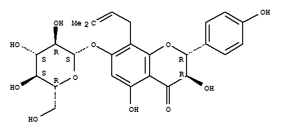 Molecular Structure of 52589-11-4 (4H-1-Benzopyran-4-one,7-(b-D-glucopyranosyloxy)-2,3-dihydro-3,5-dihydroxy-2-(4-hydroxyphenyl)-8-(3-methyl-2-buten-1-yl)-,(2R,3R)-)