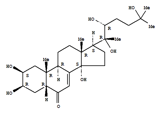 5289-74-7,20-Hydroxyecdysone,5b-Cholest-7-en-6-one, 2b,3b,14,20,22,25-hexahydroxy-, (22R)- (8CI);5b-Cholest-7-en-6-one, 2b,3b,14,20,22b,25-hexahydroxy- (7CI);(+)-Ecdysterone;20-Hydroxy-a-ecdysone;20R-Hydroxyecdysone;2b,3b,14a,20b,22a,25-Hexahydroxycholest-7-en-6-one;2b,3b,14a,20b,22a,25b-Hexahydroxycholest-7-en-6-one;Commisterone;Ecdysten;Ecdysteron;Ekdisten;Isoinokosterone;Polypodin A;Polypodine C;THE 7;b-Ecdysone;b-Ecdysterone;β-ecdysone;