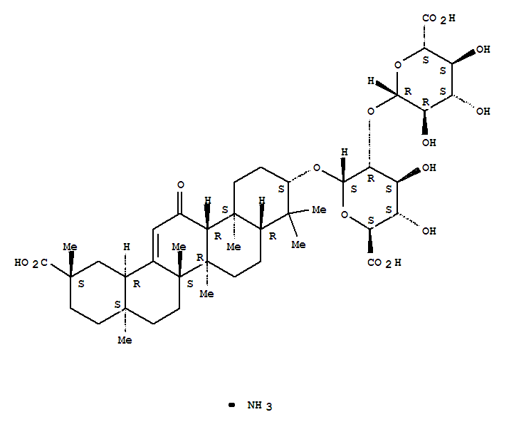 53956-04-0,a-D-Glucopyranosiduronic acid, (3b,20b)-20-carboxy-11-oxo-30-norolean-12-en-3-yl 2-O-b-D-glucopyranuronosyl-, ammoniumsalt (1:1),18b-Glycyrrhizic acid monoammoniumsalt;Ammonium glycyrrhizate;Ammonium glycyrrhizinate;Glycamil;Glycymin;Glycyrram;Glycyrrhizic acid ammonium salt;Glycyrrhizic acid monoammoniumsalt;Glycyrrhizin ammonium salt;Glycyrrhizin monoammonium salt;Magnasweet;Monoammonium 18b-glycyrrhizinate;Monoammonium glycyrrhizate;Monoammonium glycyrrhizinate;NSC 2800;NSC 35348;