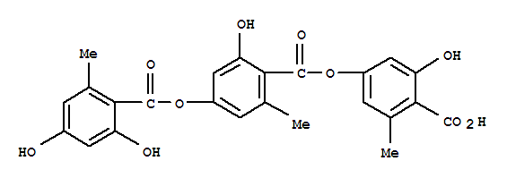 Molecular Structure of 548-89-0 (Benzoic acid,4-[(2,4-dihydroxy-6-methylbenzoyl)oxy]-2-hydroxy-6-methyl-,4-carboxy-3-hydroxy-5-methylphenyl ester)