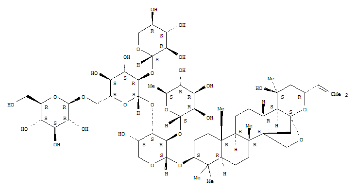 Molecular Structure of 55466-04-1 (a-L-Arabinopyranoside, (3b,16b,23R)-16,23:16,30-diepoxy-20-hydroxydammar-24-en-3-ylO-6-deoxy-a-L-mannopyranosyl-(1®2)-O-[O-b-D-glucopyranosyl-(1®6)-O-[b-D-xylopyranosyl-(1®2)]-b-D-glucopyranosyl-(1®3)]-)
