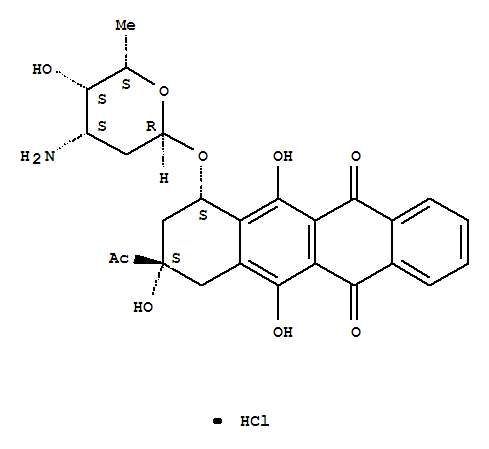 Molecular Structure of 57852-57-0 (5,12-Naphthacenedione,9-acetyl-7-[(3-amino-2,3,6-trideoxy-a-L-lyxo-hexopyranosyl)oxy]-7,8,9,10-tetrahydro-6,9,11-trihydroxy-,hydrochloride (1:1), (7S,9S)-)
