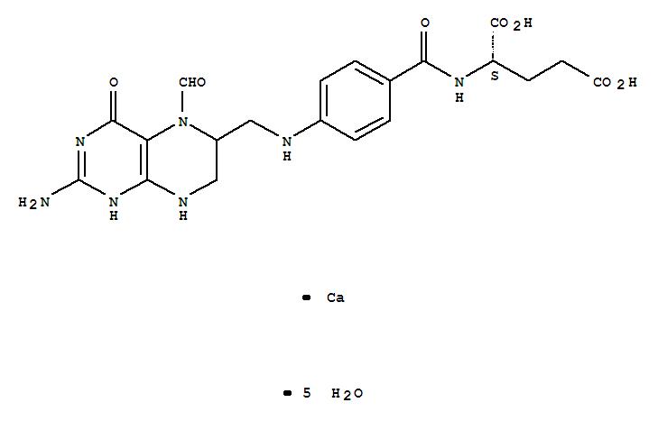 CAS NO:6035-45-6 Leucovorin calcium pentahydrate Molecular Structure