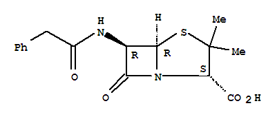 Molecular Structure of 61-33-6 (4-Thia-1-azabicyclo[3.2.0]heptane-2-carboxylicacid, 3,3-dimethyl-7-oxo-6-[(2-phenylacetyl)amino]- (2S,5R,6R)-)