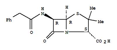 CAS NO:61-33-6 4-Thia-1-azabicyclo[3.2.0]heptane-2-carboxylicacid, 3,3-dimethyl-7-oxo-6-[(2-phenylacetyl)amino]- (2S,5R,6R)- Molecular Structure