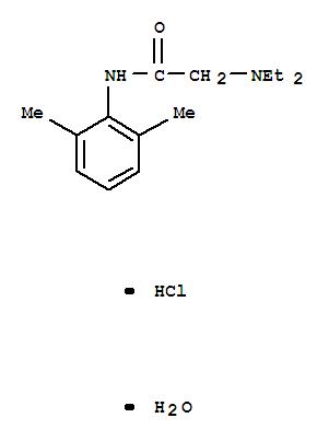 6108-05-0,Acetamide,2-(diethylamino)-N-(2,6-dimethylphenyl)-, hydrochloride, hydrate (1:1:1),2',6'-Acetoxylidide,2-(diethylamino)-, monohydrochloride, monohydrate (8CI);Acetamide,2-(diethylamino)-N-(2,6-dimethylphenyl)-, monohydrochloride, monohydrate (9CI);Lidocaine hydrochloride monohydrate;Lidocaine monohydrate hydrochloride;Lidocaine monohydrochloride monohydrate;Petercaine;